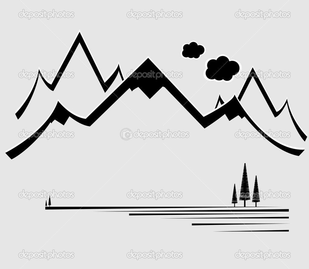 Mountain Range Silhouette Clip Art.