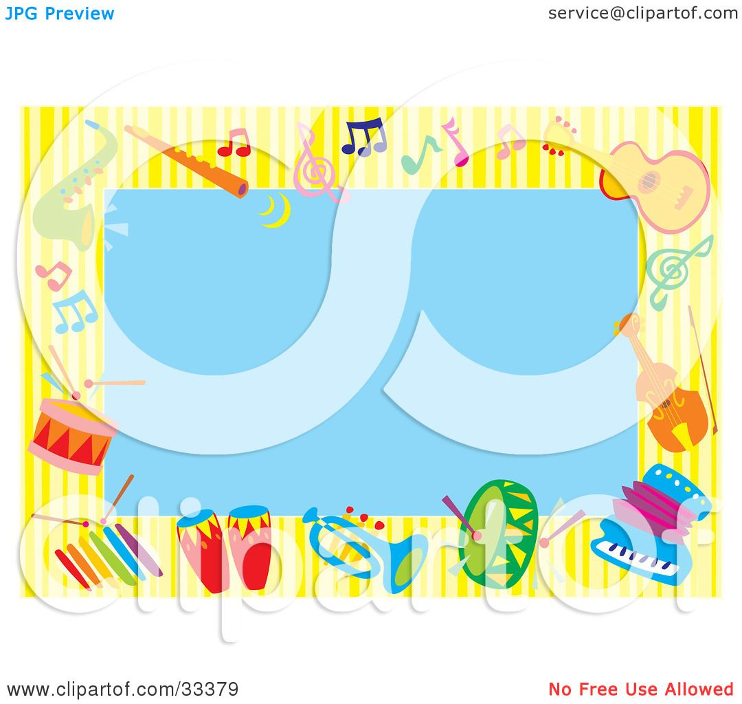 Clipart Illustration of a Blue Background Bordered By Colorful.