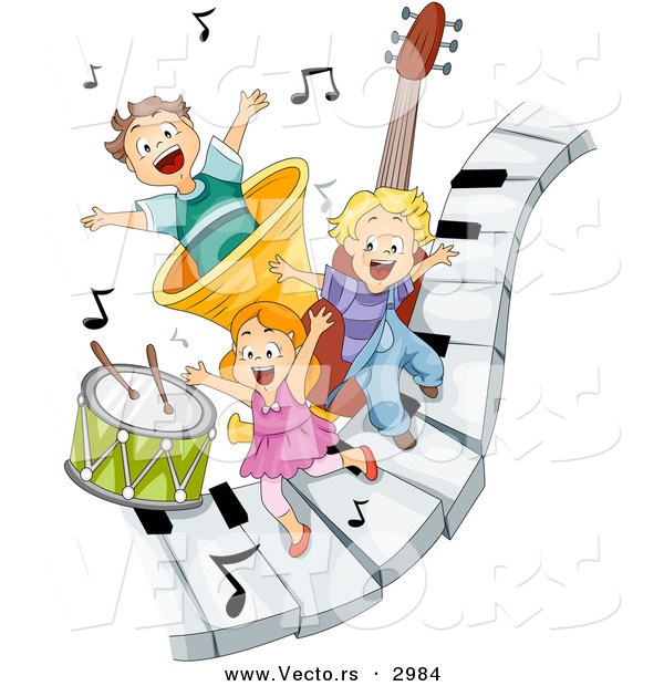 Vector of Happy Cartoon Children Playing on Piano Keys with Music.