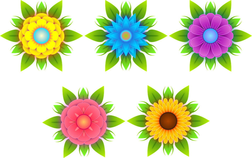 Free illustration: Flowers, Stylized Flowers, Nature.