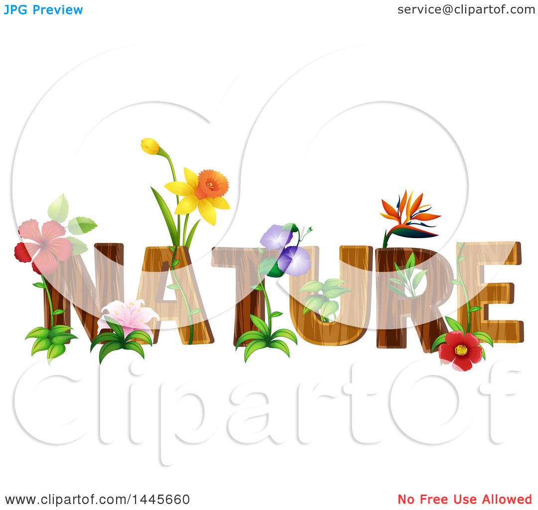 Clipart of the Word Nature with Flowers.