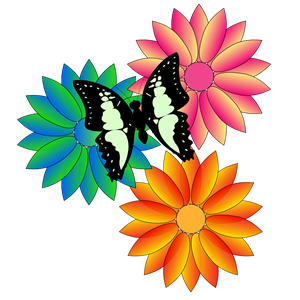 butterfly and flowers clipart, cliparts of butterfly and flowers.