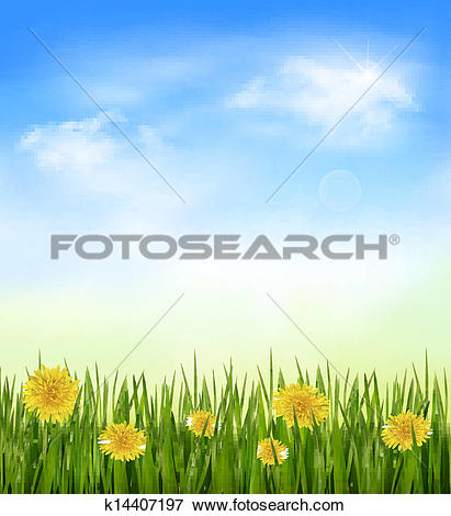 Clip Art of Nature background with green grass and flowers and.