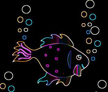 Neon Fish Clip Art.