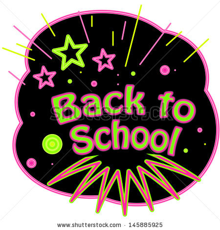 Back School Neon Abstract Shapes Highlighting Stock Illustration.