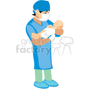 doctor holding newborn baby clipart. Royalty.