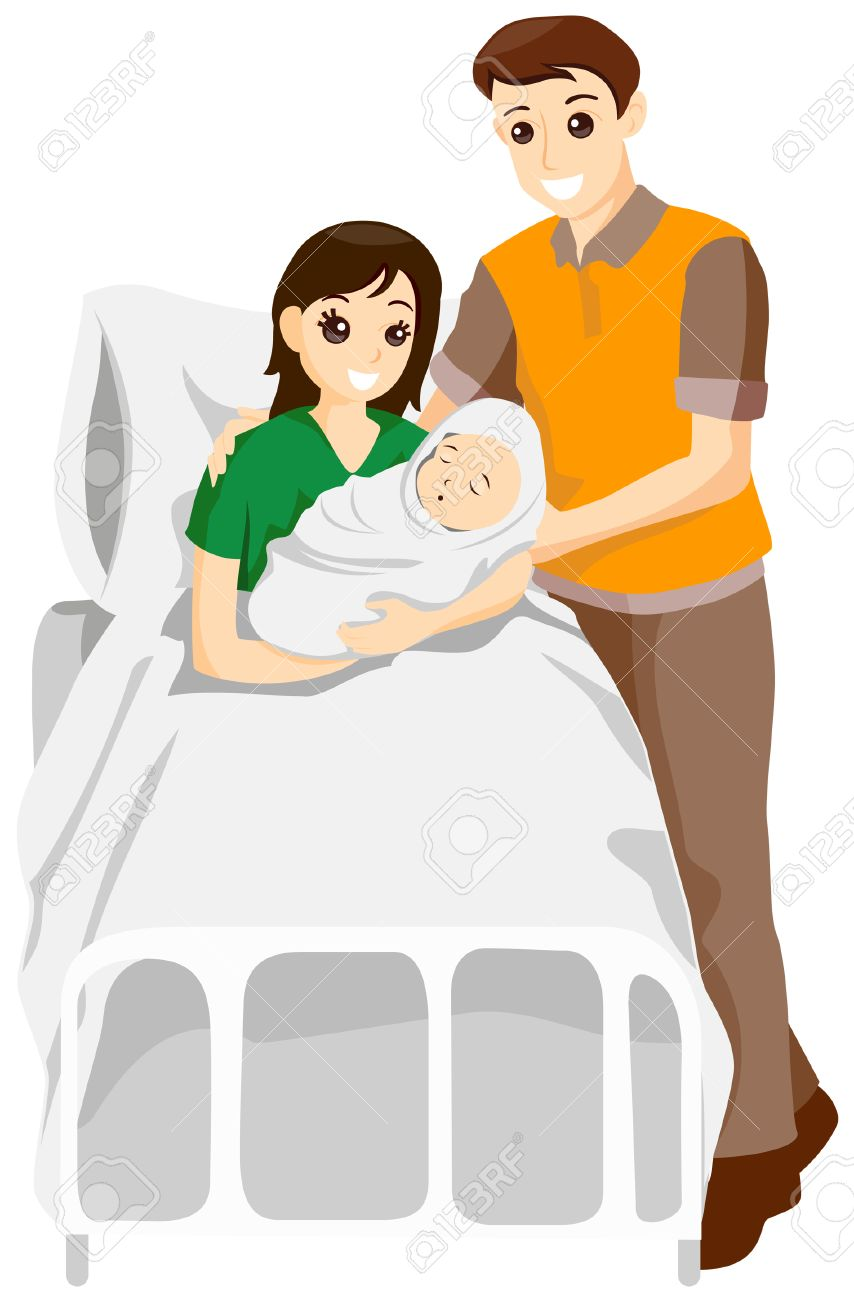 Parents with Newborn Baby with Clipping Path.