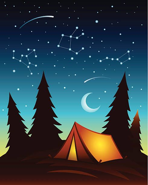 Royalty Free Camping Tent Night Clip Art, Vector Images.