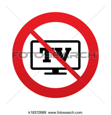 Stock Illustration of No Widescreen TV sign icon. Television set.