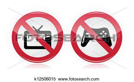 Clipart of No computer games, no tv warning k12506015.