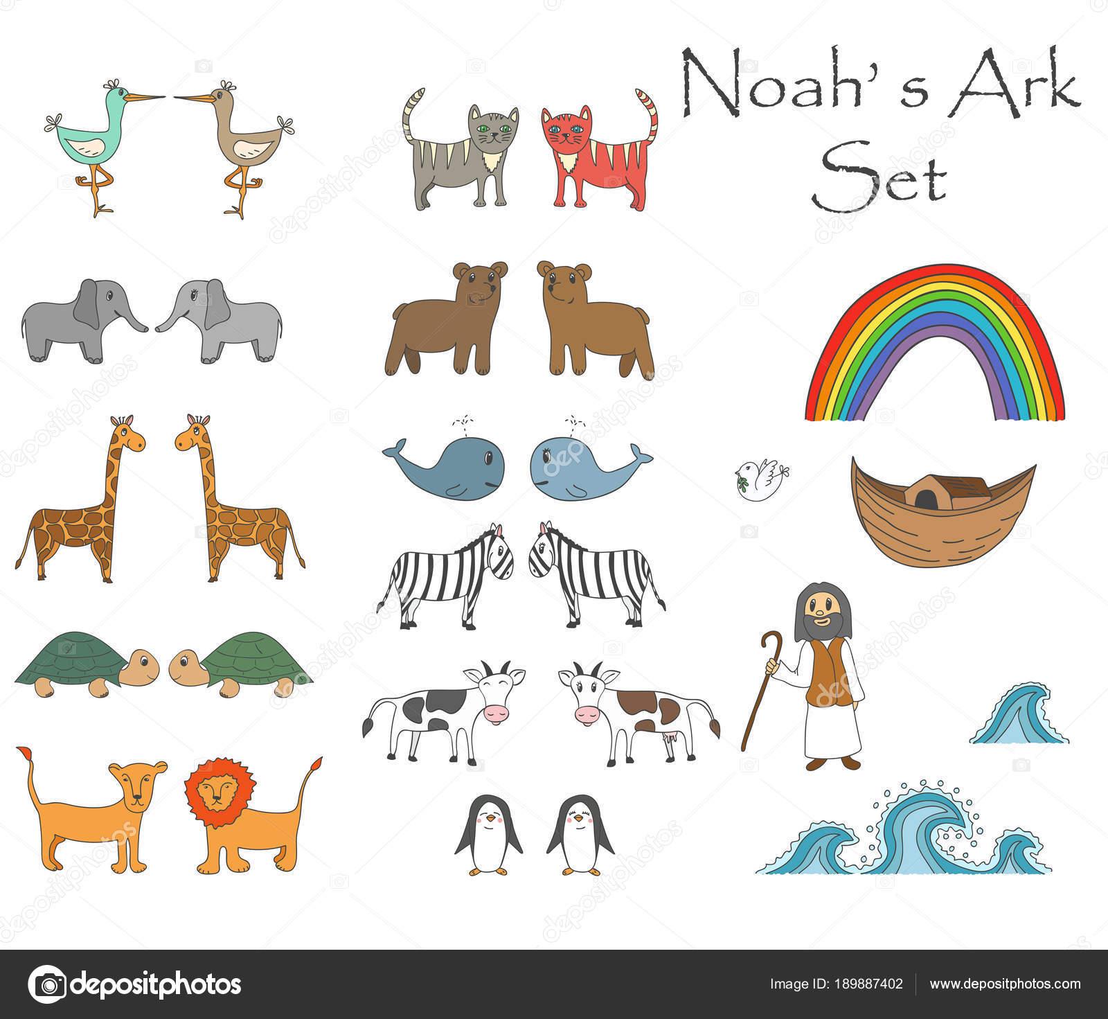 Vector Noah's Ark Set with animals — Stock Vector © MAZURKAT #189887402.