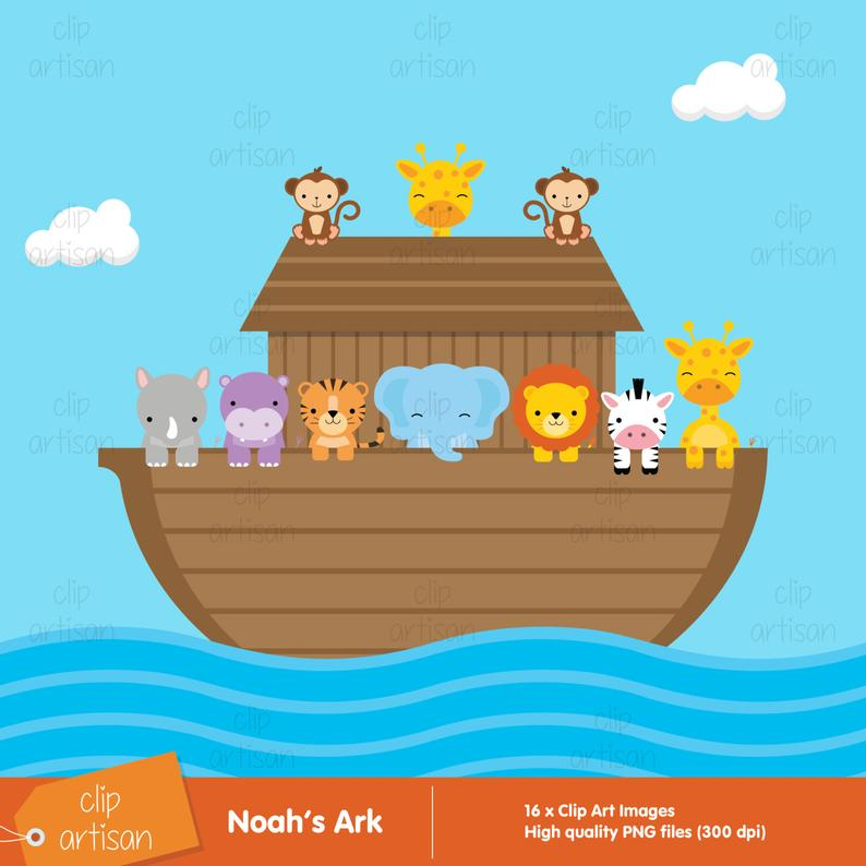 Noah's Ark Clipart / Ark Clip Art / Animal Clipart / Religious Clipart /  Ark Animals Clipart.