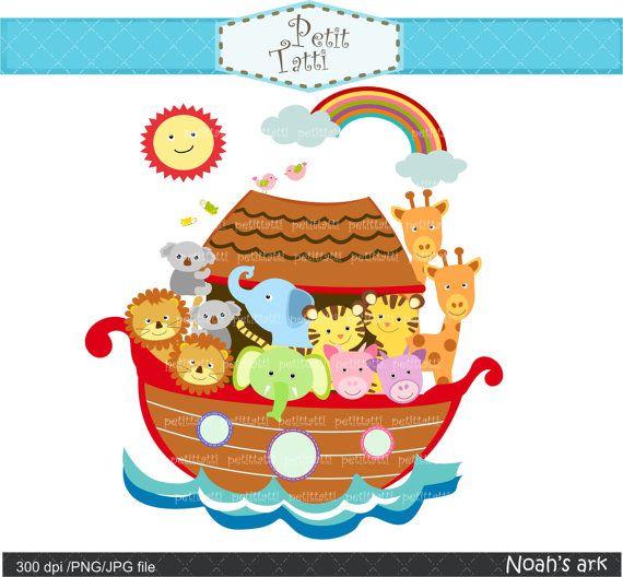 Noah ark digital clipart, Noah ark scene clipart.