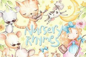 Nursery Rhyme Clipart, Watercolor ~ Illustrations ~ Creative.