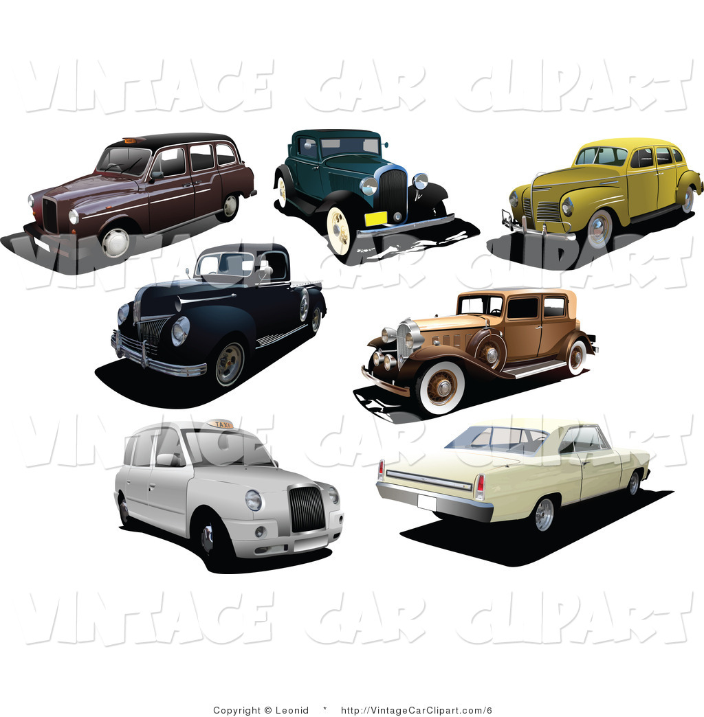 Royalty Free Stock Vintage Car Designs of Old Cars.