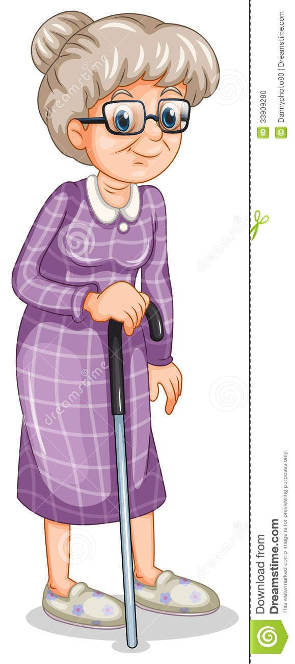 old lady with a cane cartoon.