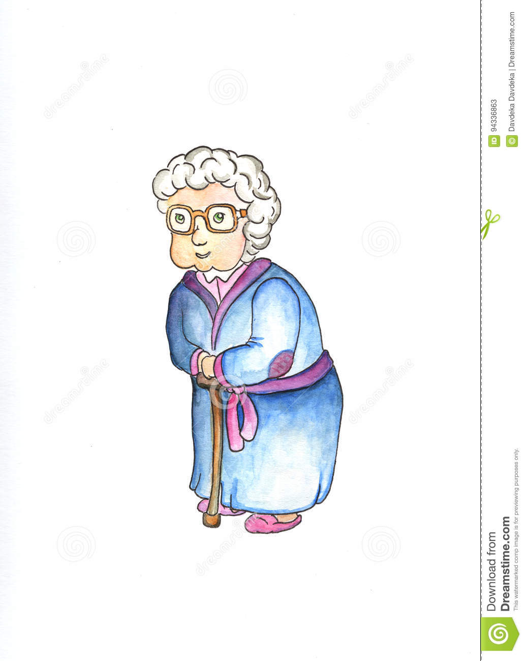 Old Lady In Glasses With Stick By Watercolors. Lovely Old Woman.
