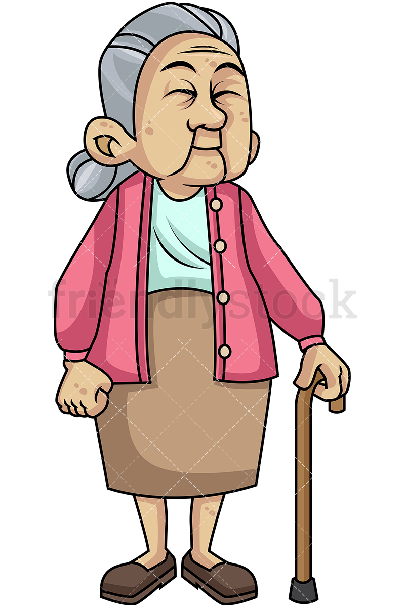 Adorable Old Woman With Walking Stick.