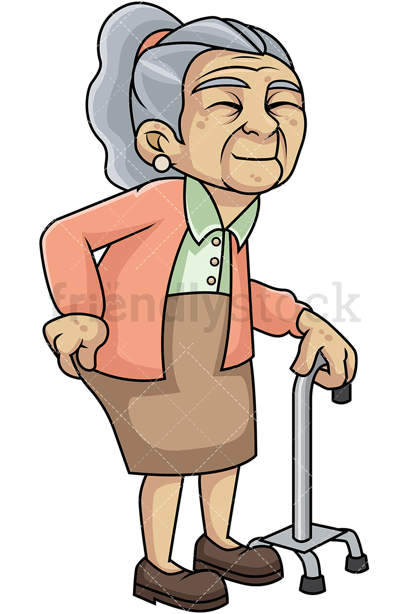 Weak Old Woman With Hip Pain And Walking Stick.