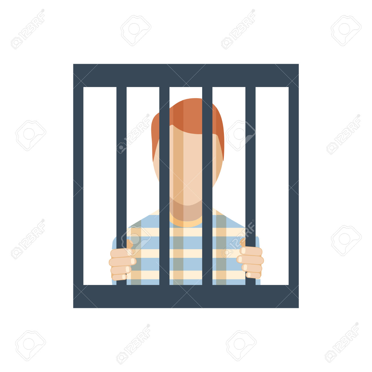 Flat Design Jail Inmate Behind Bars Icon Vector Illustration.