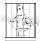 Clipart Illustration of a Jailed White Man In Orange Clothes.