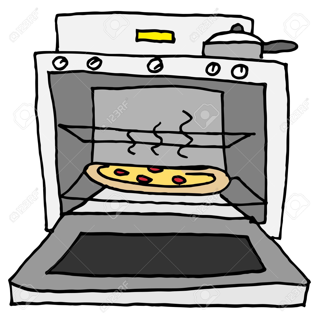 An image of a pizza baking in oven..