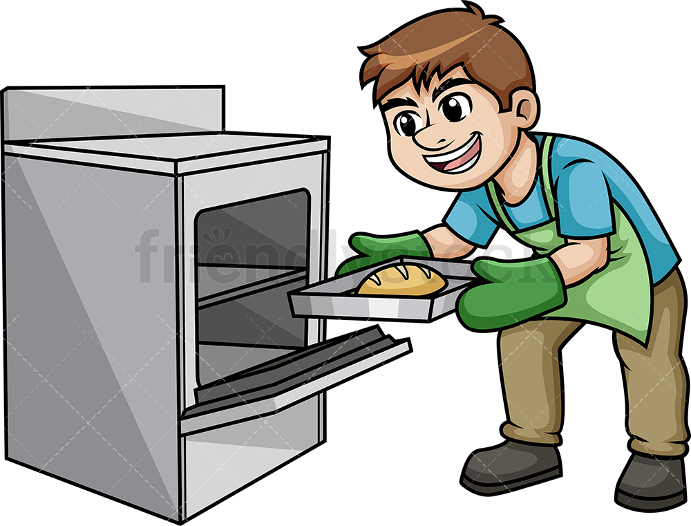 Man Removing Hot Tray From The Oven.