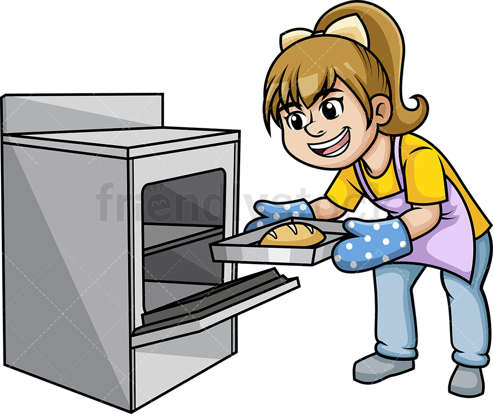 Woman Removing Hot Tray From The Oven.