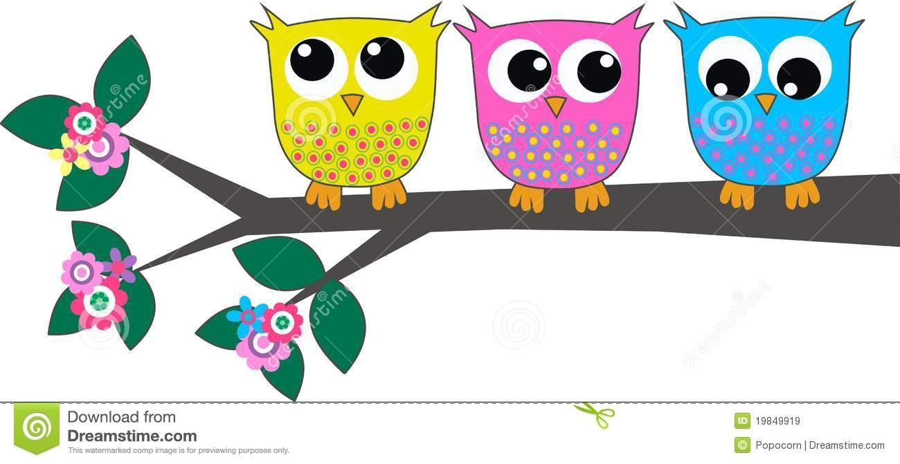 Three cute owls stock vector. Illustration of clipart.