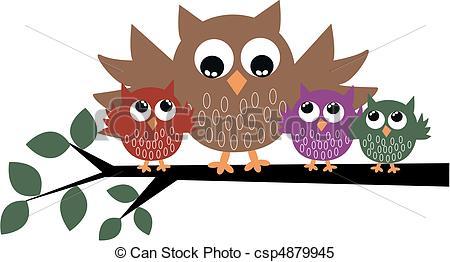 a cute owl family.
