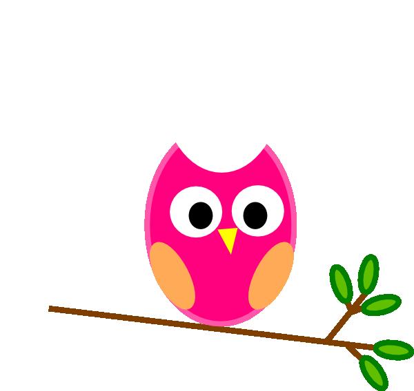 Pink Owl On Branch Clip Art at Clker.com.