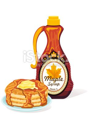 Bottle Of Maple Syrup and Stack of Pancakes.