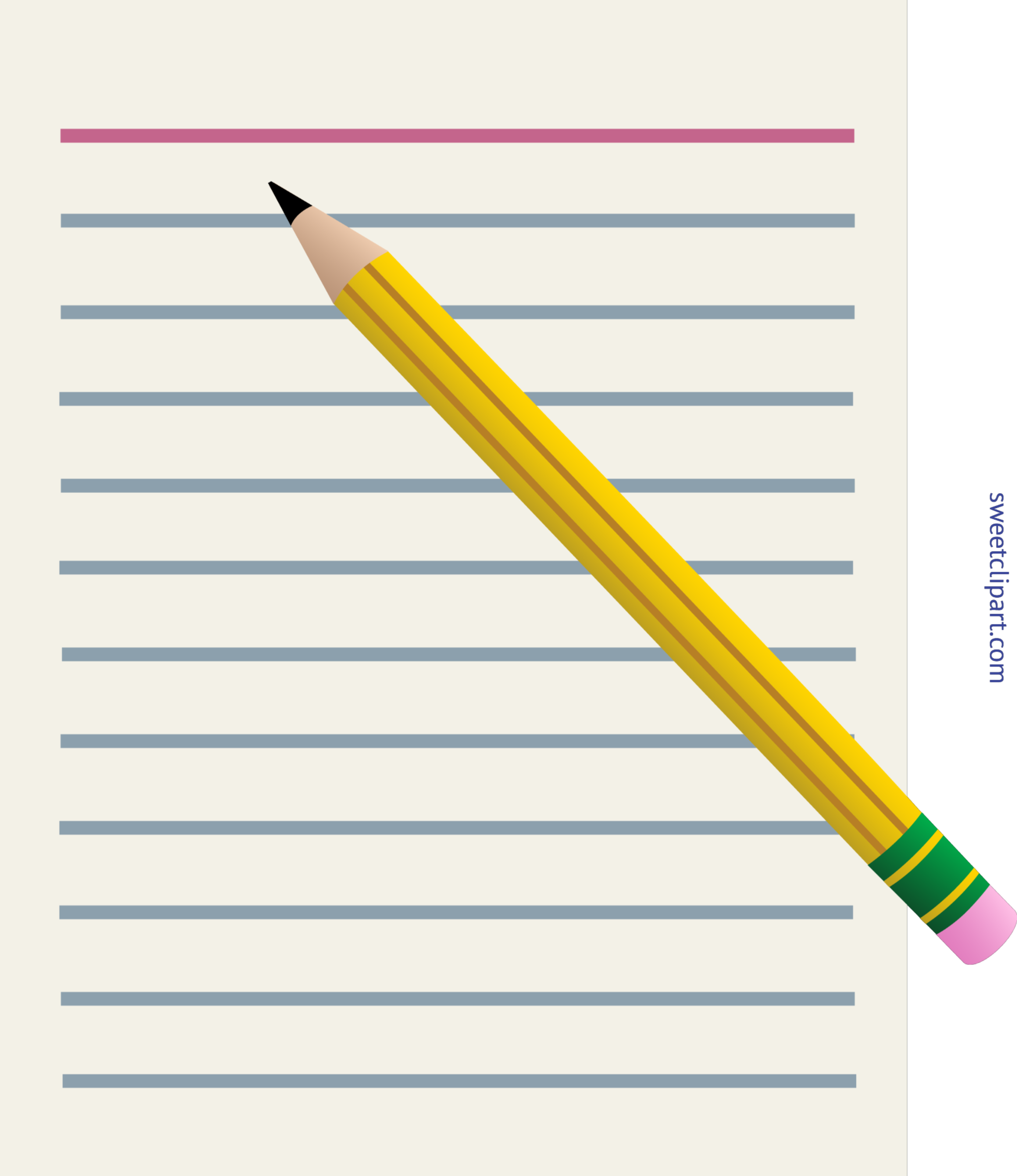 Office or School Paper and Pencil Clip Art.