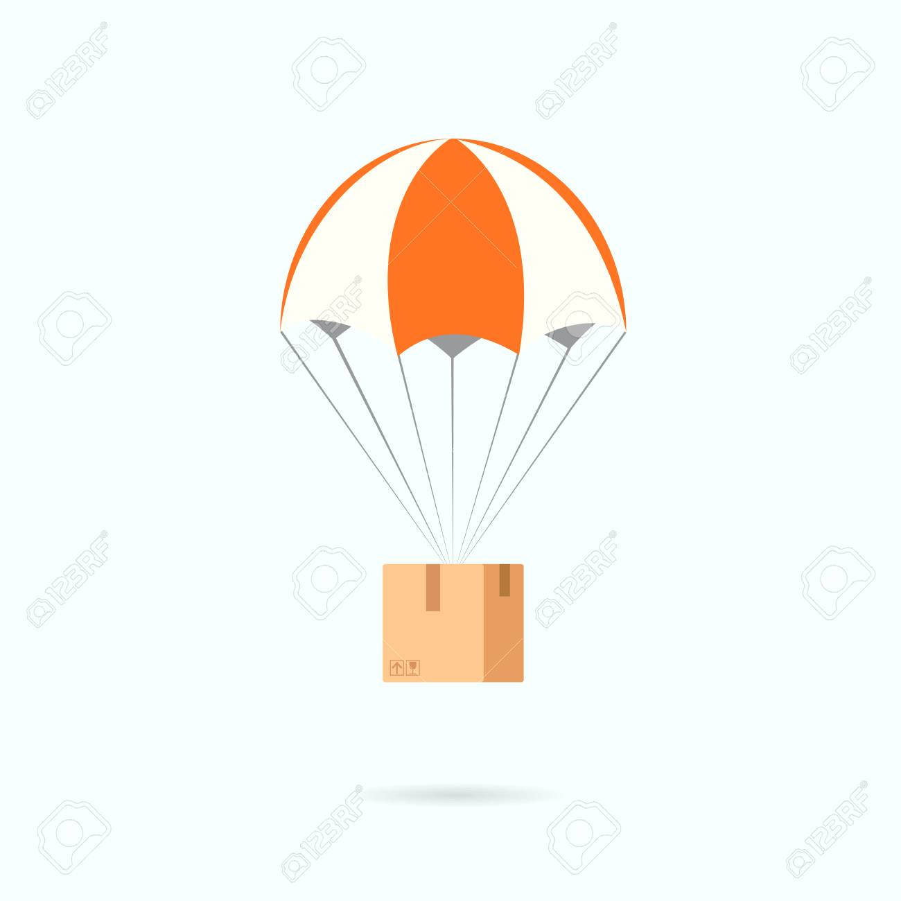 Parachute with box. Delivery clipart isolated on white background.