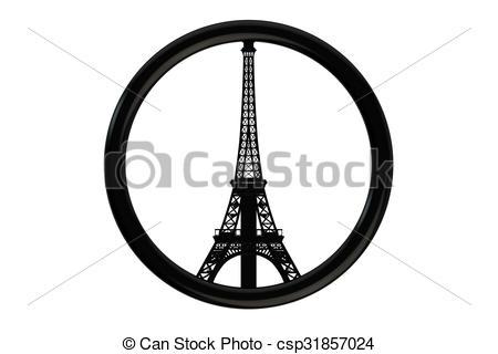 Clip Art of Paris terror attacks symbol concept isolated on white.