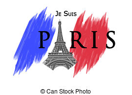 Clip Art of Paris terror attacks concept isolated on white.