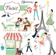 PARIS Clip Art: PINK PARIS Theme Clipart Digital Clip Art Vintage.