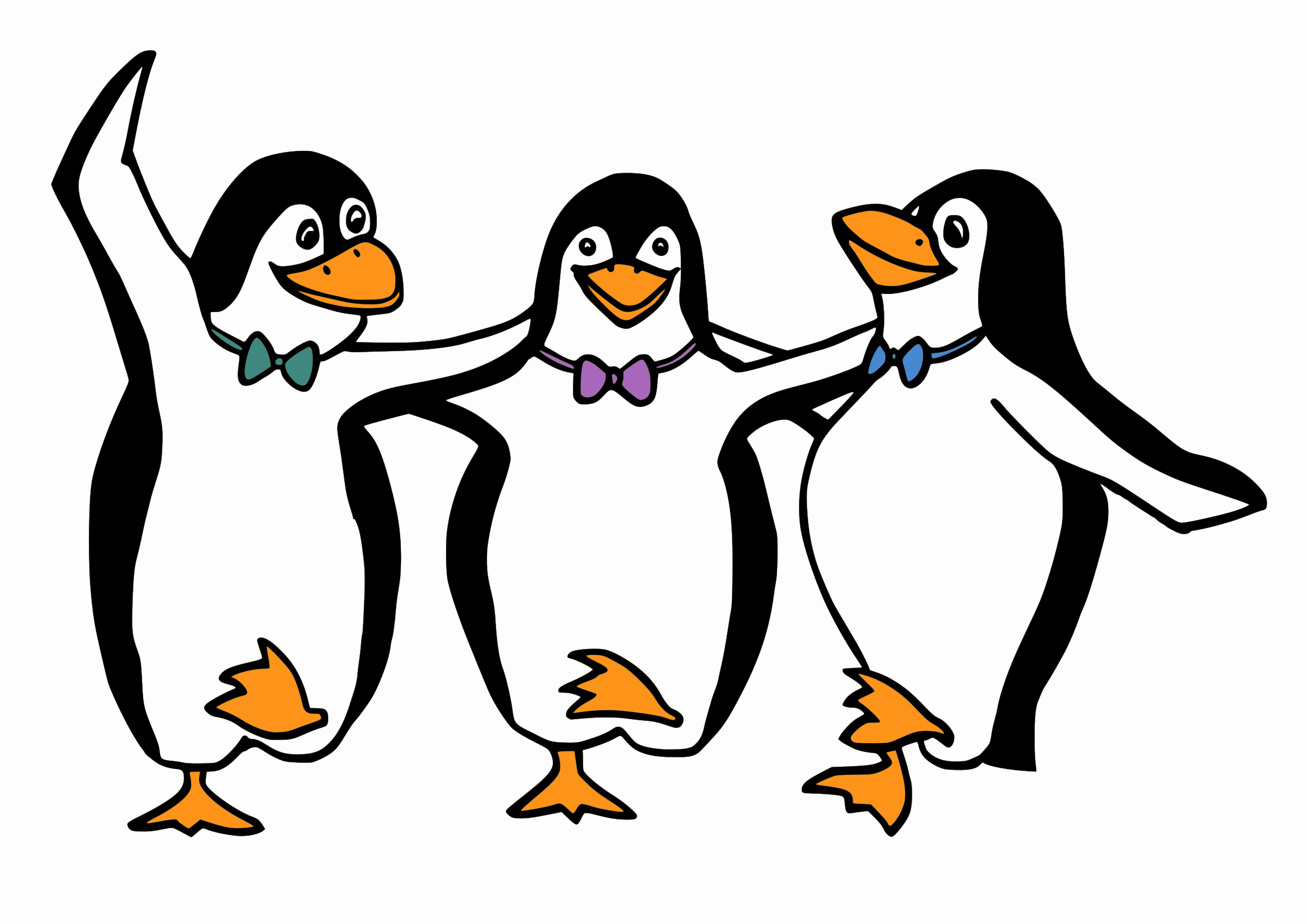 1168 Penguins free clipart.