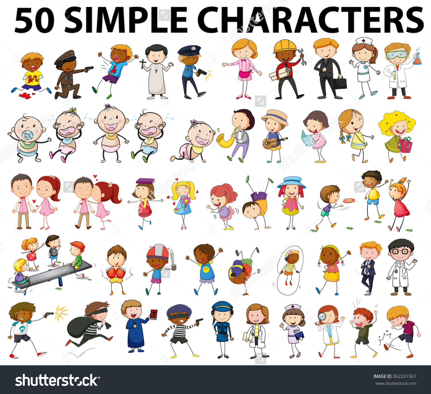 Fifty Simple Characters Doing Different Things Stock Vector.