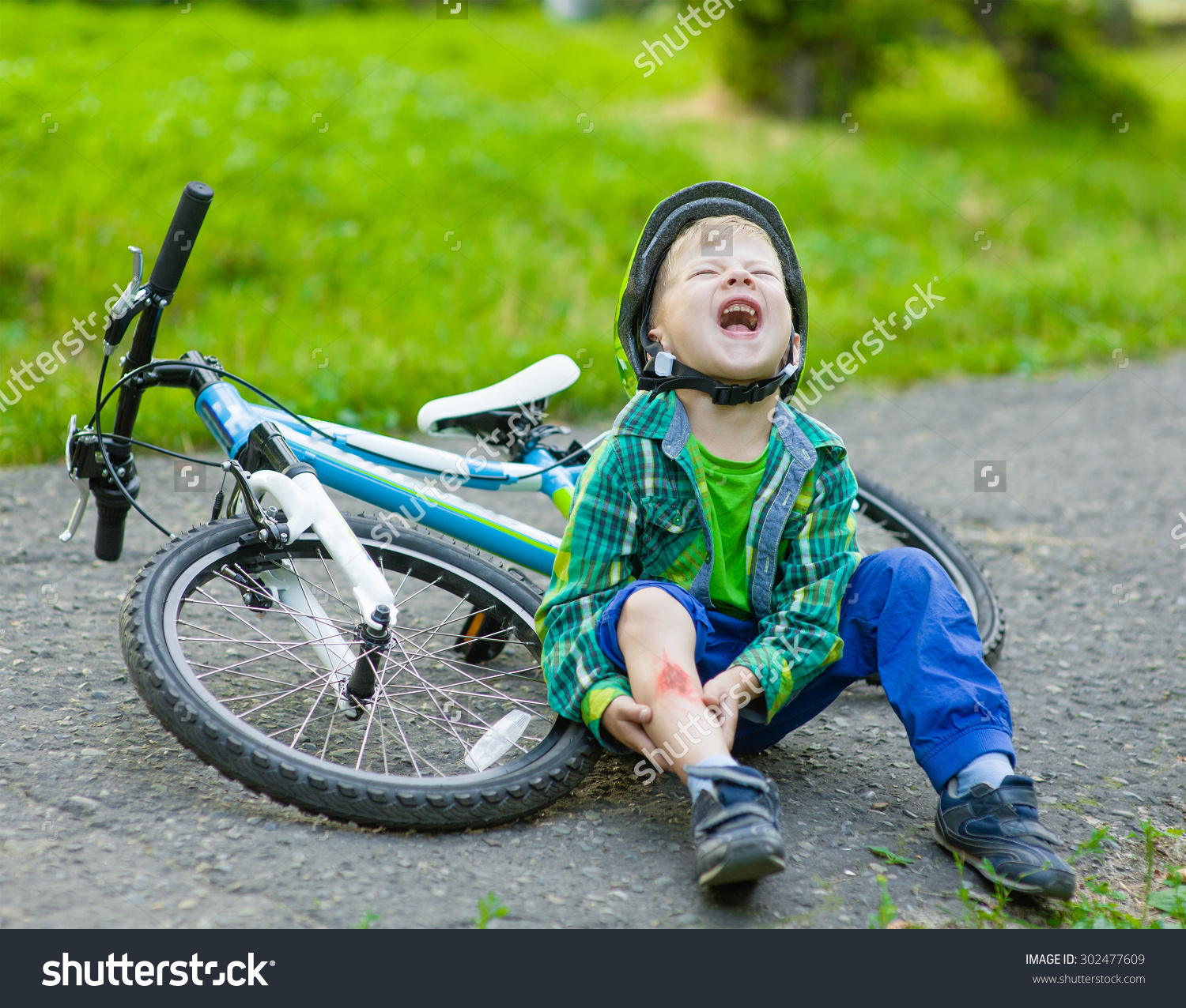 Boy Fell Bike Park Stock Photo 302477609.