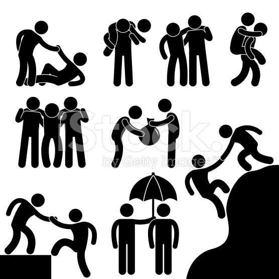 A set of pictograms representing friends helping each other.