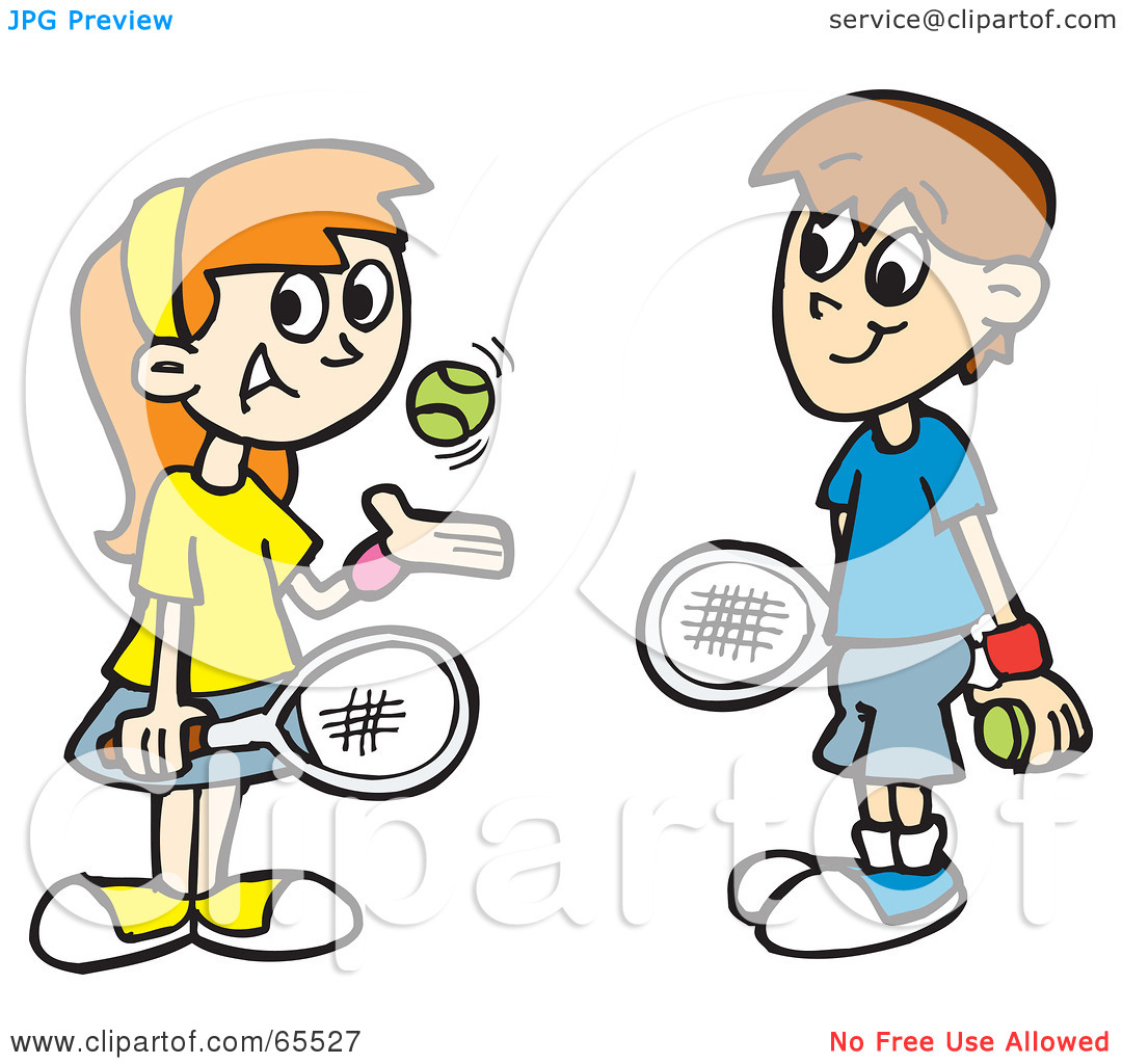 People Playing Tennis Clipart.