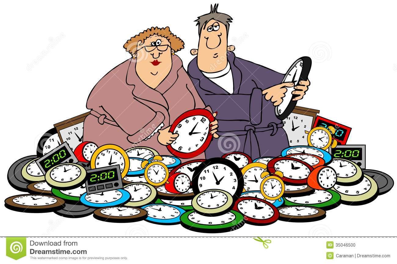 Husband & Wife Setting Clocks Stock Photo.