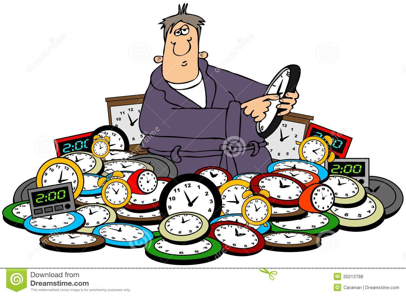 Clipart Of People Setting Their Clocks Ahead.