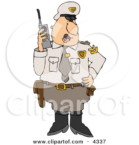 Clipart of a Cartoon Police Officer Arresting a Man As He.