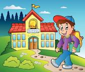 Clipart of School boy cartoon walking k22050911.