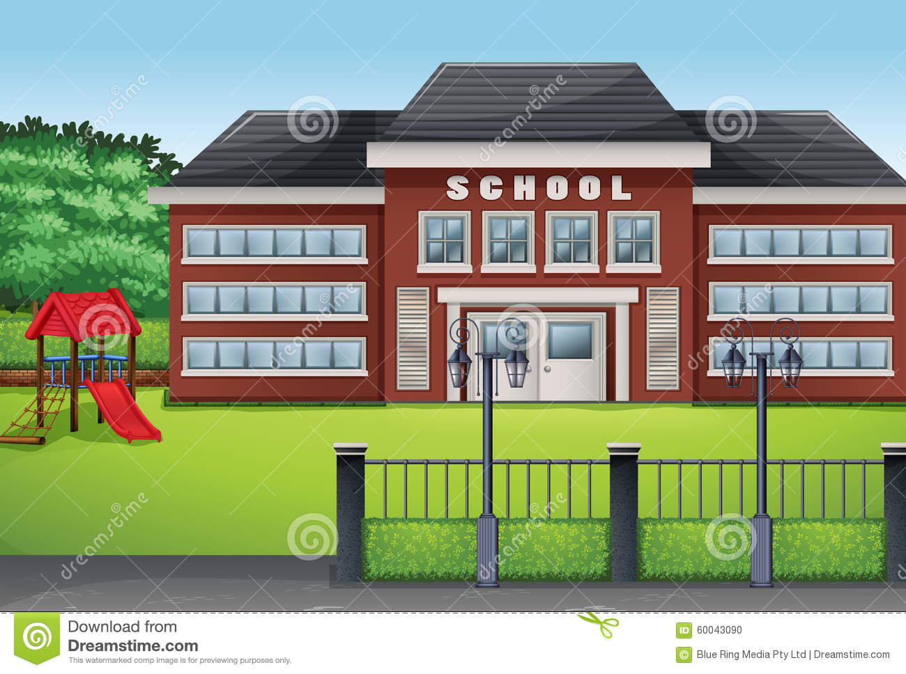 School Building In The Green Illustration 14292122.