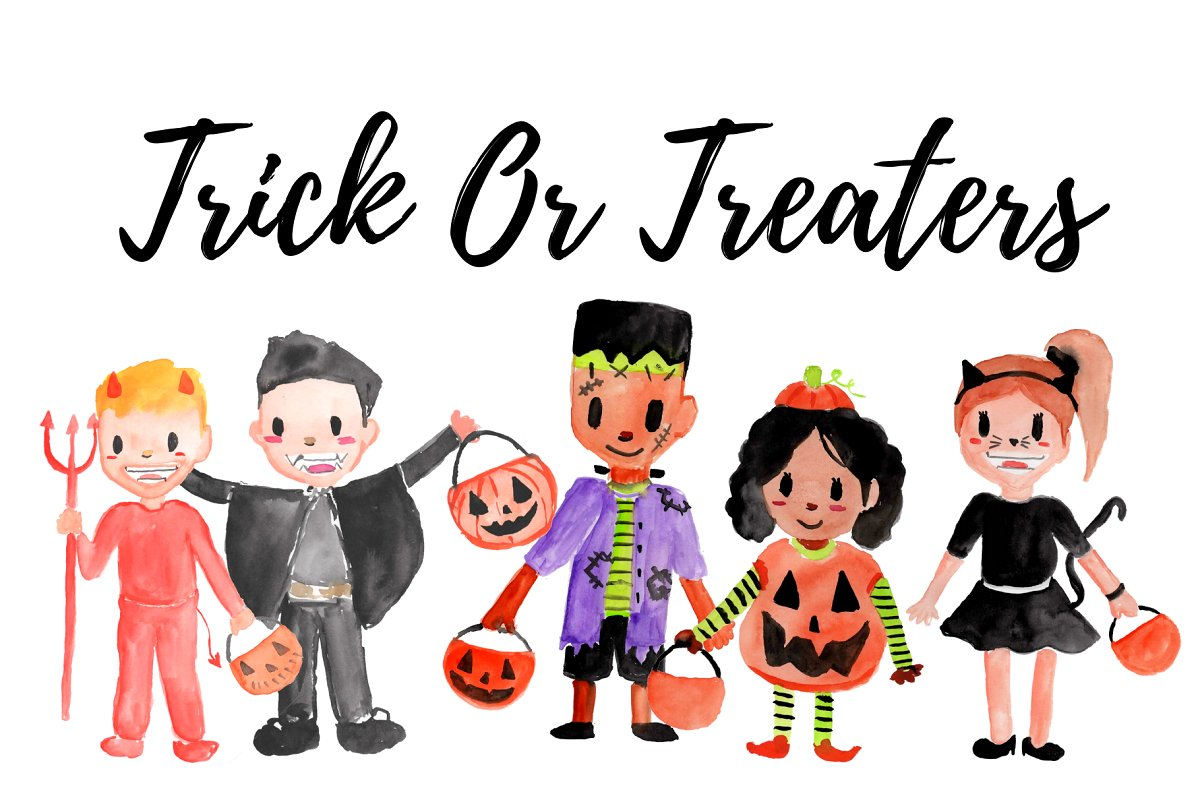 Watercolor Halloween Clipart.