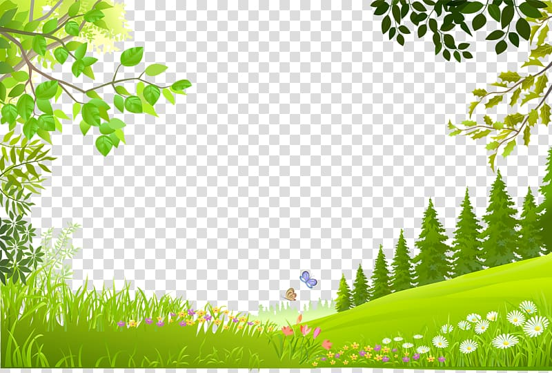 Nature Landscape, Cartoon trees plants green grass.