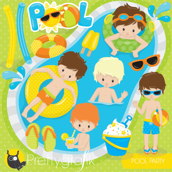 Clipart Of Pool Party Clipground